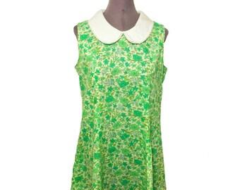 Vintage 1960's Kitschy Green Floral Peter Pan Collar Bohemian Grunge Baby Doll Shift Mini  Dress Size Small Medium