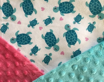 Personalized Minky Baby Blanket, Turtles Minky Baby Blanket
