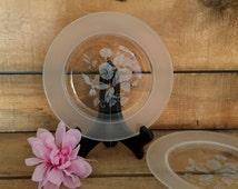 Avon Hummingbird Luncheon Plates (2), Wedding Gift, Anniversary Gift, Crystal Plates