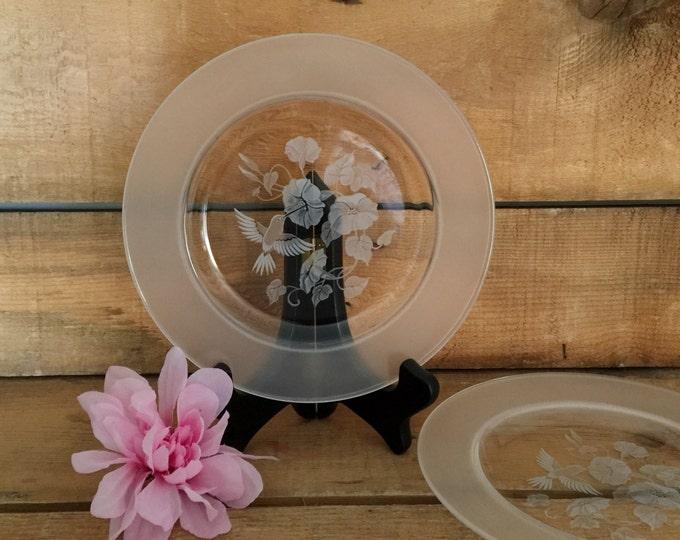 Avon Hummingbird Crystal Luncheon Plates