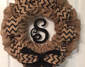 Personalized black chevron wreath