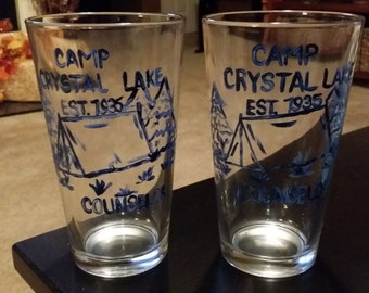 Killer Crafts - Camp Crystal Lake Counselor Handpainted Glass Cup - Friday the 13th | Jason Voorhees