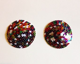 Multi rainbow harlequin classic burlesque nipple pasties