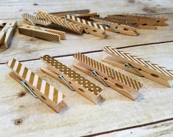 Gold patterned clothes pins - decorative clothes pins - chevron - stripes - polka dots - wooden clothes pins