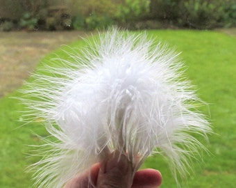 "10 White feathers 3-5"" - White fluffy feathers - Turkey Marabou feathers - Feather earring supplies - White feathers - Craft feathers"
