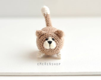 AMIGURUMI Cat Kitty Kitten - Knit Mohair Cat - Handmade Miniature Cat - Little Cat - Mohair Wool Cat - Gift Toy Cat - Home Ornament