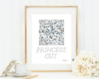 Princess Cut Diamond Watercolor Rendering printed on Paper