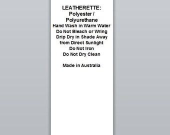 Leatherette: Polyester / Polyurethane | Satin Clothing Labels (WP044)