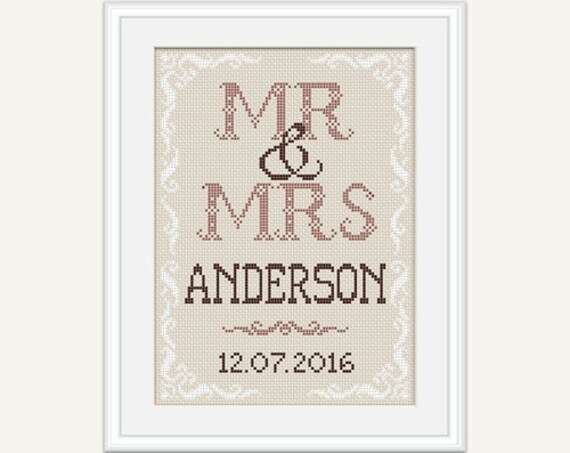 Mrs Mrs Wedding Gifts: Mr & Mrs Wedding Cross Stitch Pattern Wedding Gift