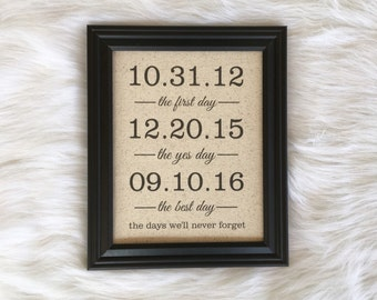 Cotton Anniversary Gift, Wedding Gift, Personalized, The First Day, The Yes Day, The Best Days of Our Lives, Linen Anniversary, Burlap