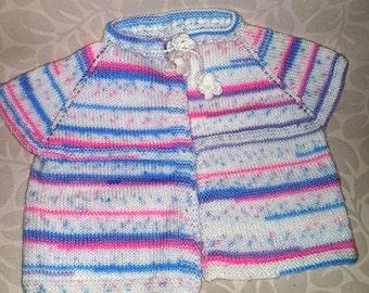 Pattern Baby Vest, baby vest, pink vest, pink, pattern vest, winter vest, handmade vest, wool vest