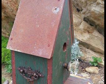 Rustic Birdhouse, Country Birdhouse, Decorative Wood Bird House Garden or Home Decor