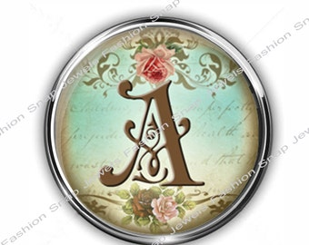 1 Snap Charm, Vintage Shabby Chic Style, choose from A-Z Initial Snap, fits large 18mm  Snap Jewelry, (also fits ginger snaps)