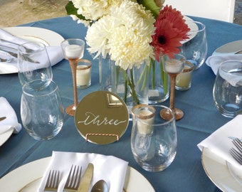 Etched Mirror Table Number