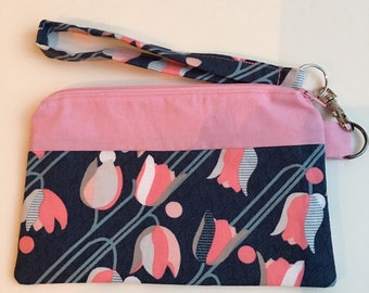 Koko Lee Material Zippered Wristlet with inside pocket