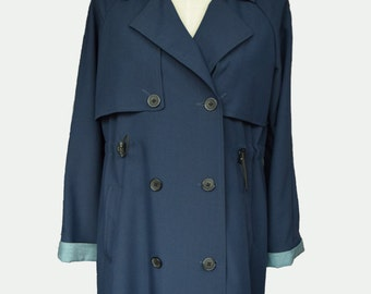 Custom Woman's Trench Coat / Trench Coat/ Womans Blue Trench/ Spring Jacket/ Blue Trench Coat/ Womans Trench Coat/
