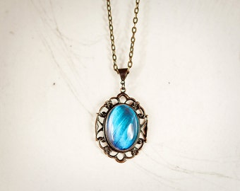 Real Butterfly Jewelry, Real Butterfly Necklace, Butterfly Wing Jewelry, Blue Morpho Jewelry, Sapphire, Vintage Pendant