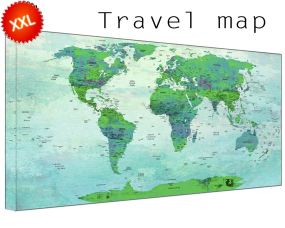 office world map. Pin World Map Canvas Art Print Large Wall With Countries Home Office