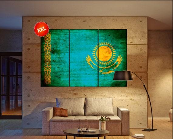 kazakhstan flag canvas wall art art print large  canvas wall art print kazakhstan country flag Wall Home office decor interior Office Decor