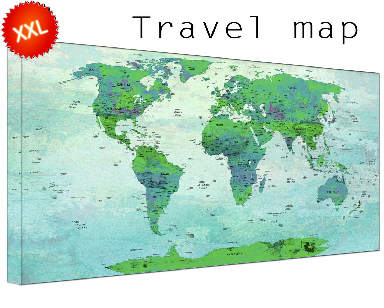 Pin World Map Canvas Wall Art Art Print Large Pin World