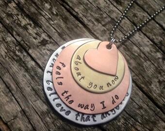 Personalised necklace. Handstamped.