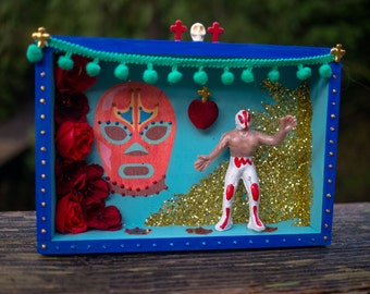 Lucha Libre Mexican Wrestling Art Box - Wood, Blue, Coral, Red, Gold