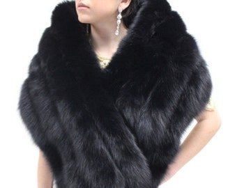 Black Fox Fur Shawl