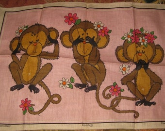 Courtlin Irish Linen humorous Tea Towel of Thre Monkeys, See No Evil, Speak No Evil, Etc.