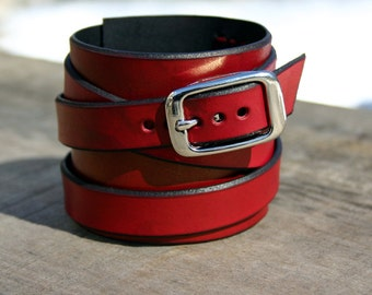 Red Leather Cuff / Leather Wraparound Wristcuff With Nickel Buckle / Leather Bracelet Wrapped Style!