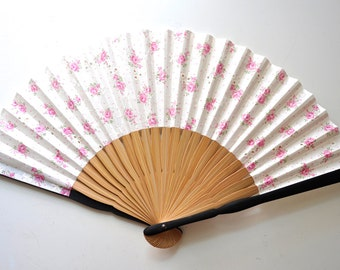 Fabric Embroidery Rose Hand Fan with sleeve-Handheld Folding Fan, Japanese Hand Fan,folding fan,pink hand fan,