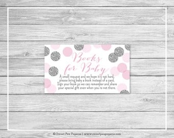 Pink and Silver Baby Shower Book Instead of Card Insert - Printable Baby Shower Books for Baby - Pink and Silver Glitter Baby Shower - SP123