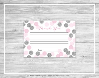 Pink and Silver Baby Shower Thank You Cards - Printable Baby Shower Thank You Cards - Pink and Glitter Baby Shower - Thank You Cards - SP123