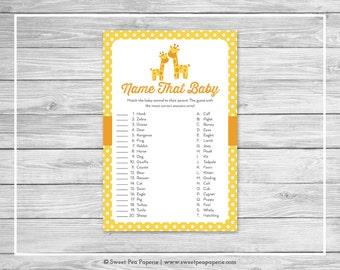 Giraffe Baby Shower Name That Baby Game - Printable Baby Shower Name That Baby Game - Yellow Giraffe Baby Shower - Name That Baby - SP131