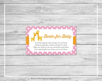 Giraffe Baby Shower Book Instead of Card Insert - Printable Baby Shower Books for Baby - Pink Giraffe Baby Shower - Books for Baby - SP129