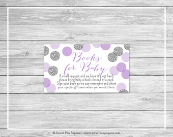 Purple and Silver Baby Shower Book Instead of Card Insert - Printable Baby Shower Books for Baby - Purple and Silver Baby Shower - SP126