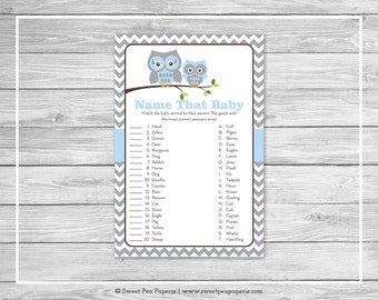 Owl Baby Shower Name That Baby Game - Printable Baby Shower Name That Baby Game - Blue Owl Baby Shower - Name That Baby - Owl Shower - SP135
