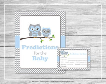 Owl Baby Shower Predictions for Baby - Printable Baby Shower Predictions for Baby - Blue Owl Baby Shower - Baby Predictions - SP135