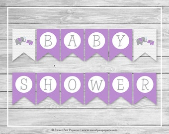 Elephant Baby Shower Banner - Printable Baby Shower Banner - Purple and Gray Elephant Baby Shower - Baby Shower Banner - EDITABLE - SP116