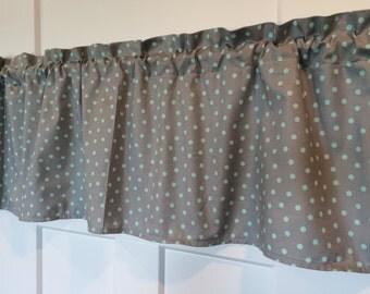 Gray and Mint Green Polka dot curtain valance
