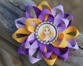 Tangled hair bow, Tangled bow, Rapunzel hair bow, Rapunzel bow, Disney hair bow, girls hair bow, Disney's Tangled hair bow, bottle cap bow