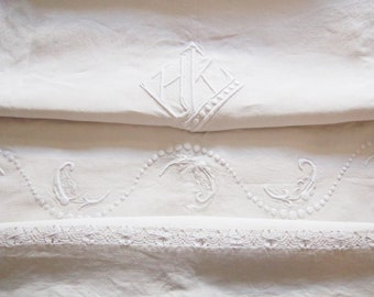 French linen metis sheet, hand embroidered, French vintage linens French linens,French vintage, French decor – Drap en lin metis,