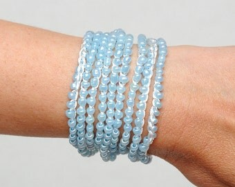 Beaded bracelet Crochet wrap bracelet Wrap beaded necklace Bohemian bracelet Bohemian necklace Beach accessories womens gift girlfriend gift