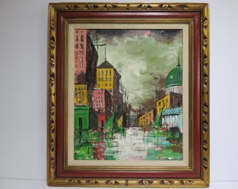 Signed Abstract Cityscape, Acrylic Mid-Century Modern Painting On Canvas Of A European City.