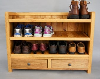 solid wood shoe rack made with reclaimed oak with drawers shoe storage
