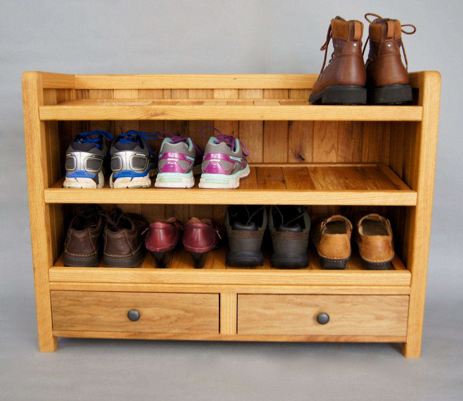 Solid Wood Shoe Rack, Made With Reclaimed Oak, With Drawers, Shoe Storage,  Entryway Storage