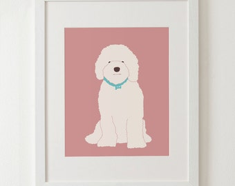 "Labradoodle art print, art decor, dog print, kids room decor 8x10"" 11x14"""