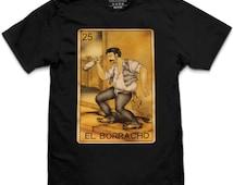 Pins & Bones El Borracho Loteria Theme Playing Cards, Black T-Shirt
