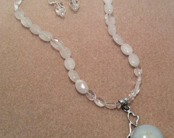 Crystal & moonstone jewelry set
