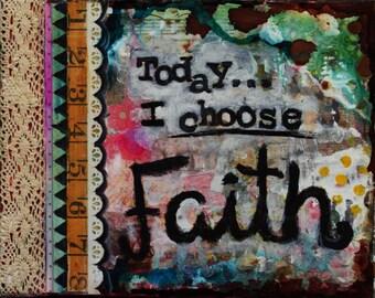 "Faith. Mixed media painting. 8"" x 10"" canvas."