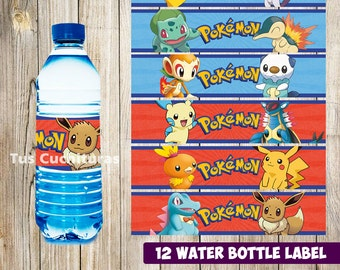 12 Pokemon Water Bottle Label instant download, Printable Pokemon Water Bottle Label, Pokemon Water Label